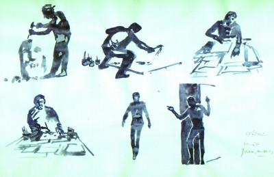 Dibujos a tinta originales para los Whimbats