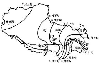 西藏高原雨季平均开始期分布图