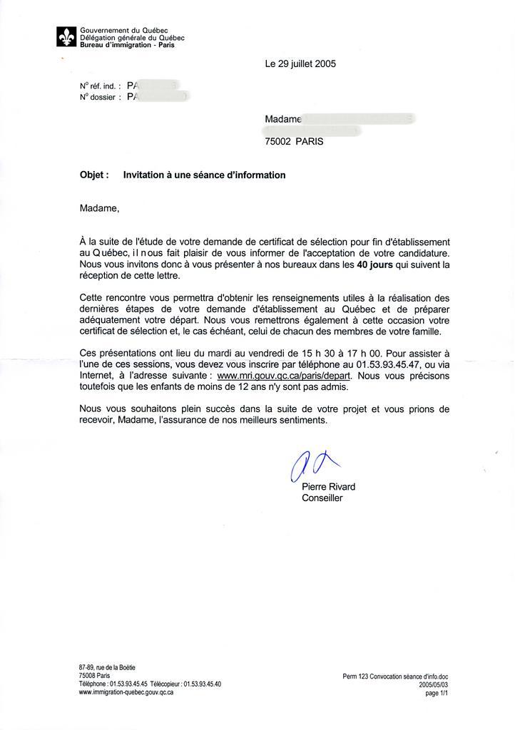 modele lettre invitation visa