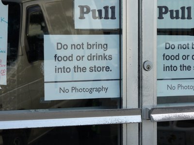 Sign posted at a store near the resturant