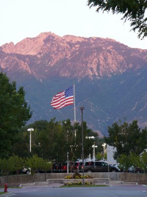 Nice picture of Flag with mountain backdrop