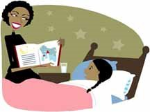 cartoon image of mother reading book to girl in bed