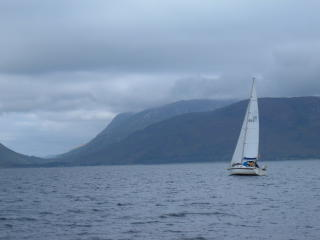 Yacht in the Sound of Mull