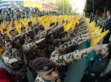 hezbollah nazi salute