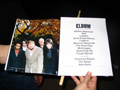 Elbow live @ Quest Ascot Room 4/15/06 set-list