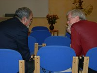 Dr. Bernard Sabella and Bishop Murray Finck talk at the ELCA Wittenberg Center, Wittenberg, Germany.