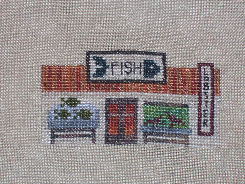 Sharon 39 s cross stitch obsession village fish market hd for Village fish market