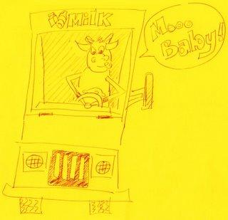 A cow driving a milk truck.
