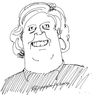 Caricature of Natalie's friend. I think she's her friend but not sure. Perhaps not after she shows her this sketch I made.