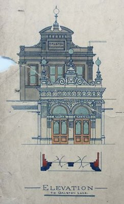 1898 architect's design for the new theatre entrance, built forwards from the original 1886 circus entrance, at North London Colloseum and Amphitheatre, 12 Dalston Lane, London E8