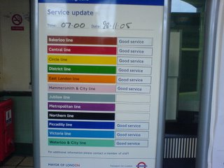 Northern line service board