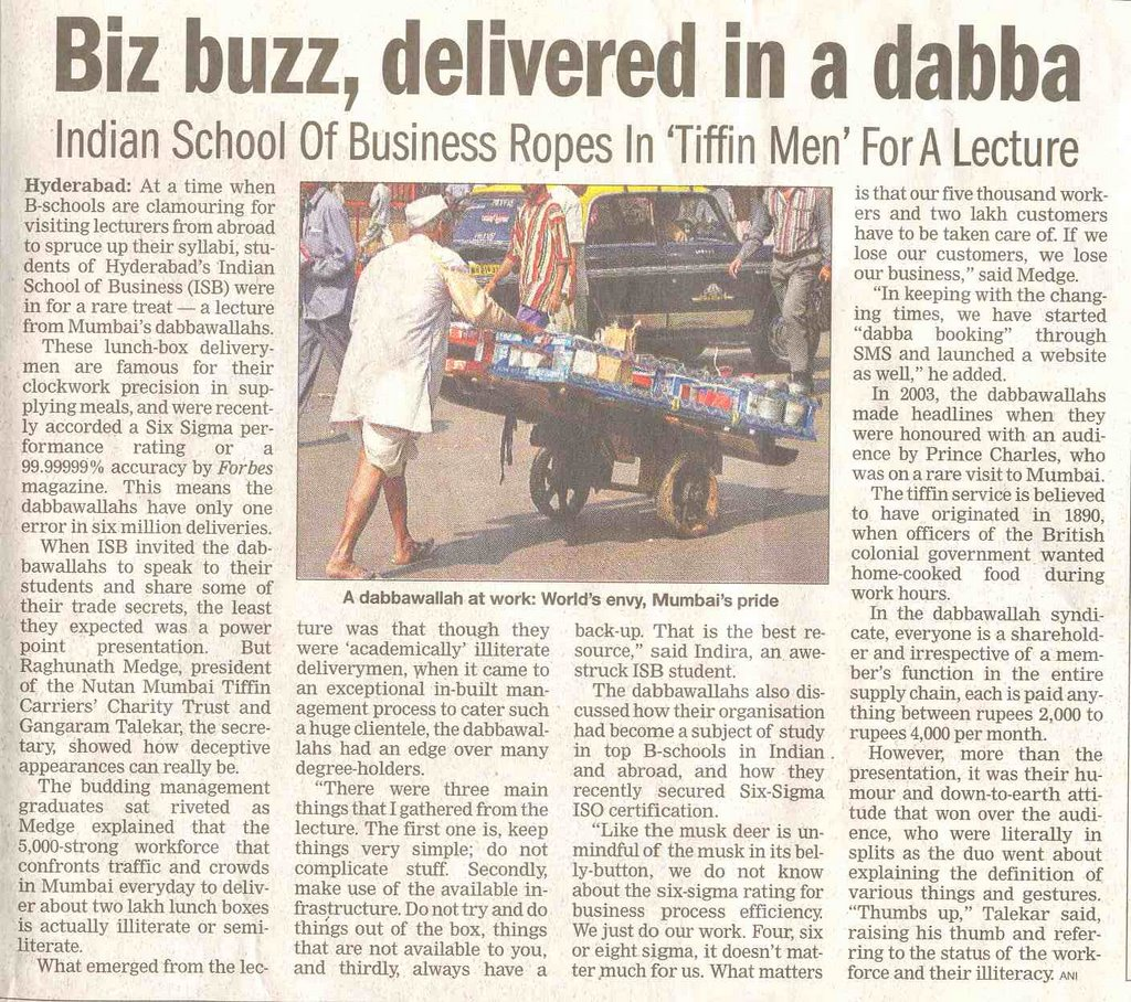 the mumbai dabbawalas Dabbawalas case study what are the main learnings of the case the dabbawalas carry tiffin for the employeesehich contains two main committees of the contractors who run the businessfrom the case we can learn why the tiffin carrying service has been successful in mumbai following are learnings of.