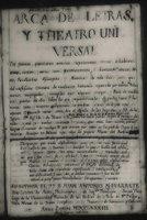 Página tercera del manuscrito del Arca de Letras, y Theatro Universal, de Juan Antonio Navarrete. Conservado en la Biblioetca Nacional de Venezuela