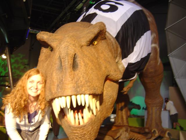 Giant T-Rex in a Newcastle football jersey and Jo