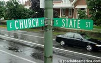 Street Signs: Church Street and State Street intersection.