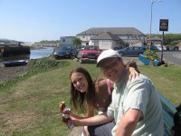 Mark and Emily eating Cornish pasties in Hayle