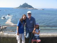 Mark, Emily and Lauren at Marazion with Saint Michael's Mount in the background