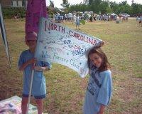 Lauren holding her class flag