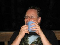 Mark enjoying a late night coffee out on the decking