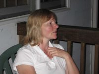 Mark's aunt on the decking at night