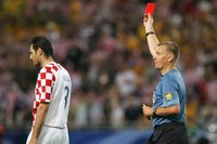 Graham Poll shows Josip Simunic the red card