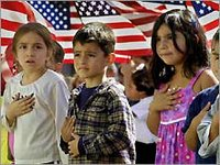 Children saying the Pledge of Allegience