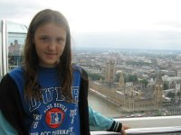 Emily on the London Eye, overlooking Westminster