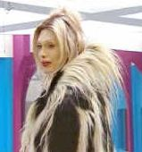 Pete Burns wearing a colobus monkey coat