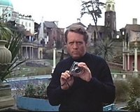 Patrick McGoohan at Portmeirion in The Prisoner episode Many Happy Returns