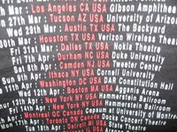 A close up of the tour dates, showing Durham, NC