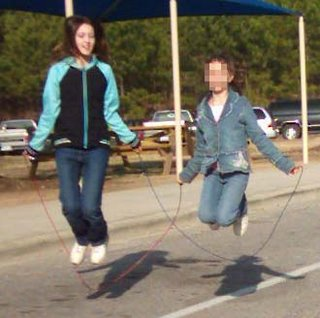 Emily and friend skipping
