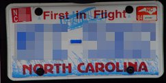 A North Carolina licence plate
