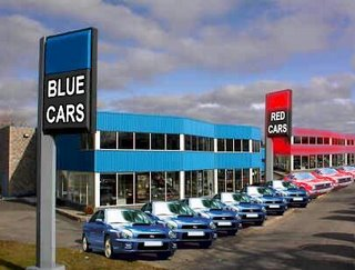 Car sales organised in accordance with the colour of the vehicle