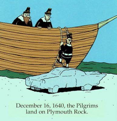 Pilgrims Land on Plymouth Rock