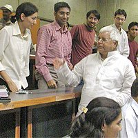 Laloo Prasad Yadav with IIM-A students