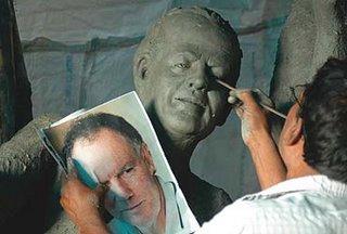 Kumartuli artisan designing Mahisasura as Greg Chappel