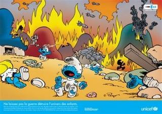 UNICEF Bombs Smurfs to Highlight Plight