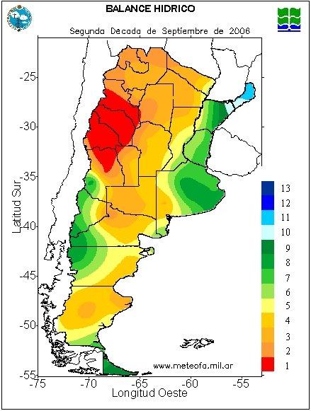 Mapa de Balance Hídrico del Servicio Meteorológico Nacional