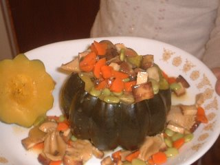 Buddha Delight, made of acorn squash and other goodies (see recipe)