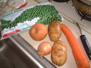 Ingredients: peas, carrots, onions, apple, and potatoes (see recipe)