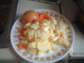 Chopped, carrots, onions, apple, and potatoes (see recipe)