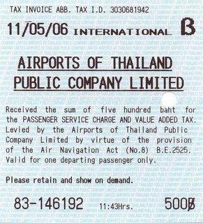 ภาษีท่าอากาศยาน Thailand airpot tax