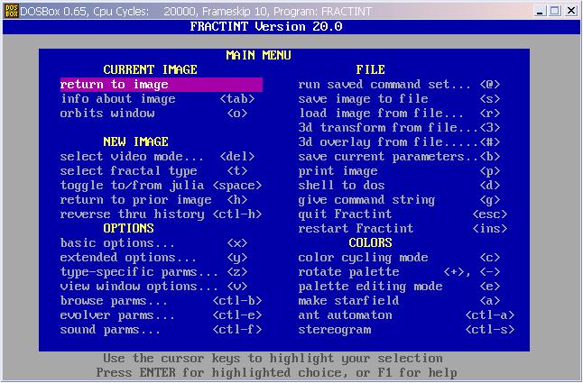 Fractint 프랙탈 그래픽 소프트웨어