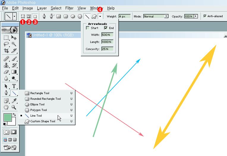 포토샵(Adobe Photoshop): 화살표/쌍방향 화살표 그리기