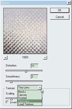 물결무늬 유리창 효과 필터: Glass Filter