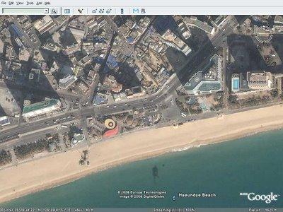 구글어스: 부산 해운대 해수욕장 백사장