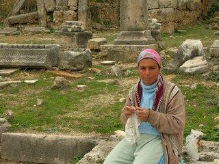 A woman crocheting in Turkey