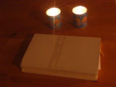 Yahrzeit candles for Sasha Bella Stein-Blumberg and her grandpa Bruce Stein