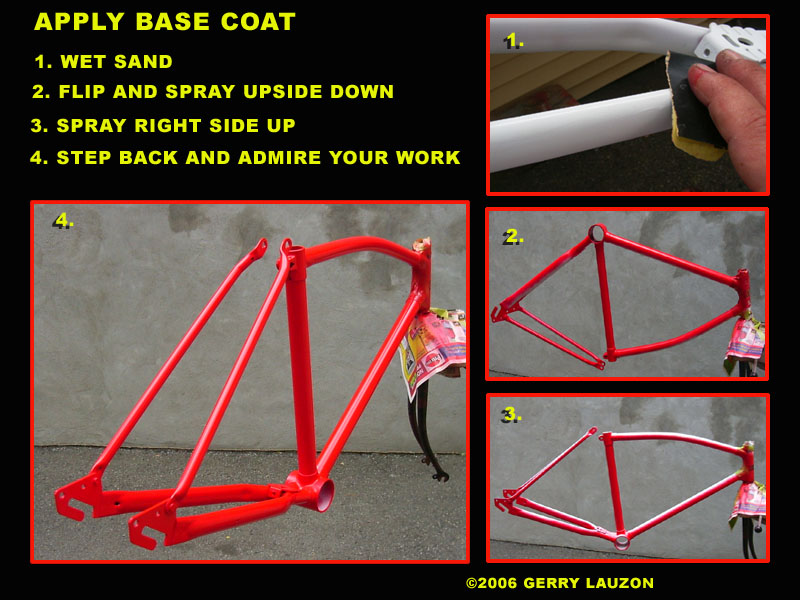 painting the bicycle frame with color