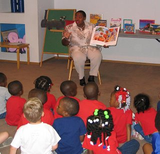 Barbara Sirmans reading to children
